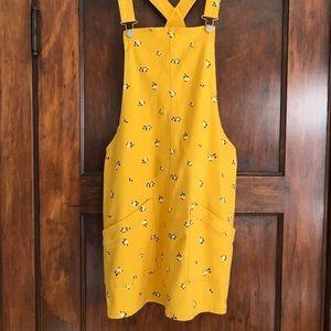 Yellow Denim Skirt Overalls